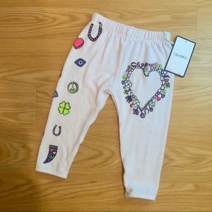 NWT. Lauren Moshi Kids | White Graphic Sweatpants